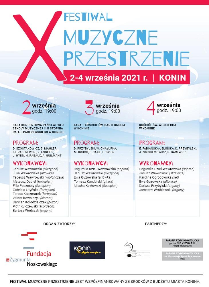 W dniach 2-4 września odbędzie się w Koninie 10. jubileuszowa edycja Festiwalu Muzyczne Przestrzenie.